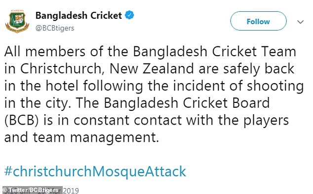 The Bangladesh cricket board tweeted to confirm the players were safely back in their hotel
