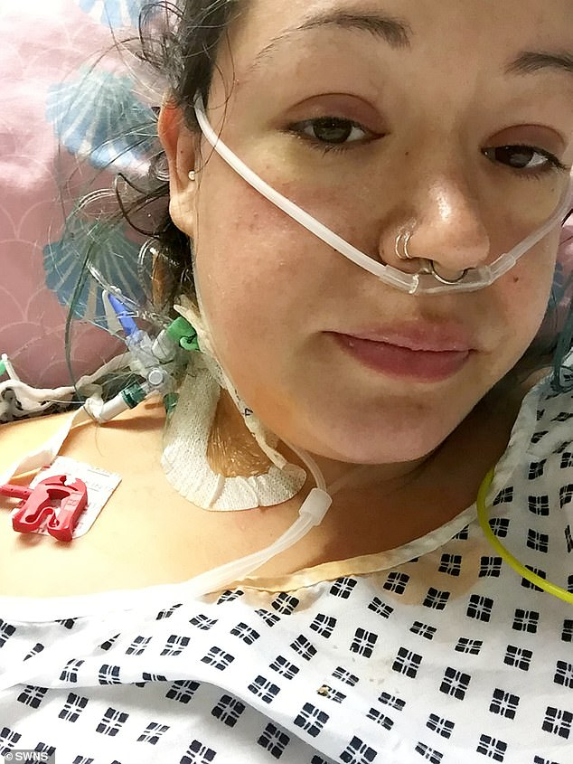 Jamie Hockey, 32, from Aylestone, Leicester, suffered a ruptured fallopian tube needing emergency major surgery, three days after being discharged after an ectopic pregnancy diagnosis. Pictured, in hospital atLeicester Royal Infirmary