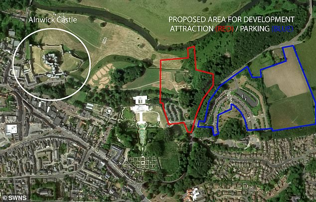The proposed site for the park, coloured red, and the parking area, coloured blue, are close to Alnwick castle. Residents say they will look like a 'tacky Disneyland' and 'prejudice' the area's character