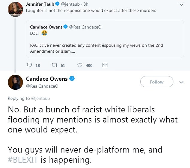 Owen was eviscerated by followers for her 'tone deaf' posts. She argued back with them afterward and claimed she was the victim of a 'bunch of racist white liberals' but failed to make a single solemn or sympathetic post about the shooting itself