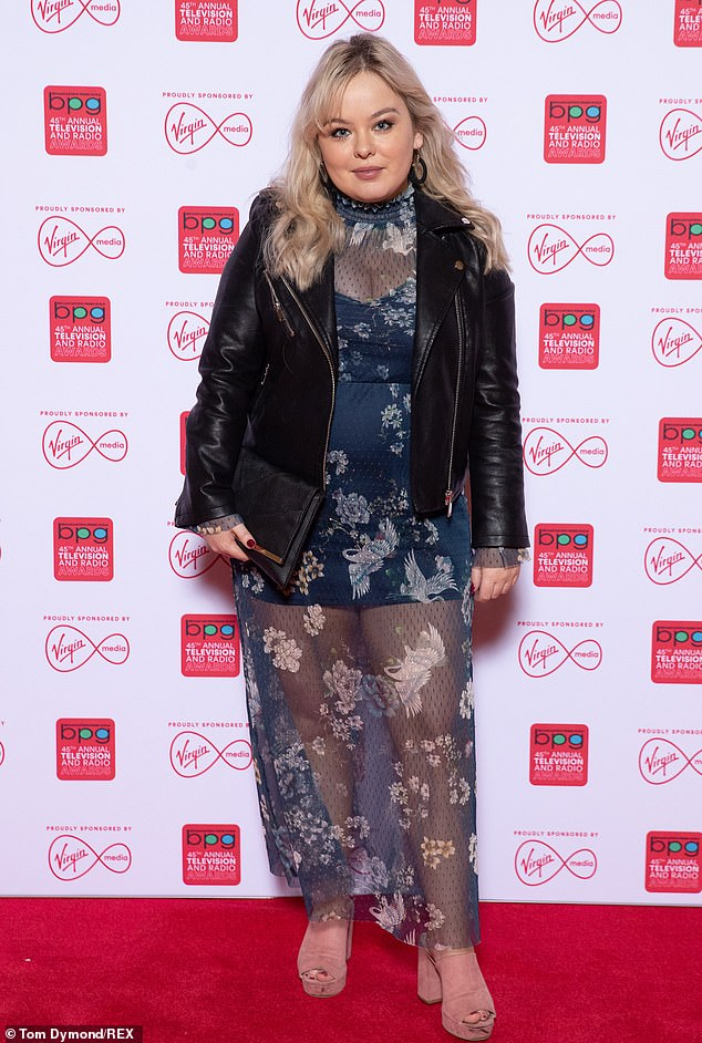 Looking good: Actress Nicola Coughlan also put on a sensational style display in a semi-sheer navy dress with a black biker jacket
