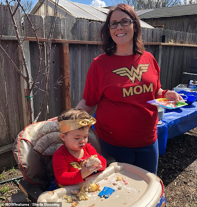 On March 25, 2018, just after Sheila's brain surgery, they celebrated Sophia's first birthday (pictured). Pregnant and exhausted, Sheila had over 30 staples in her head, but she put on a smile and celebrated the day. They had a Wonder Woman theme. Sheila said she felt like Wonder Woman herself