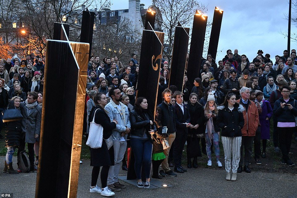 People looked solemn as they gathered at Hyde Park to pay their respects to those who had died in the attack in New Zealand