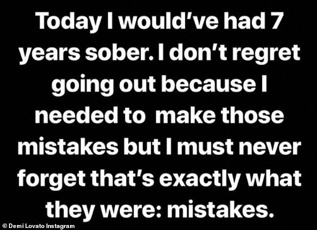 Looking back to move forward: The Sober singer took to her Instagram Story to share her feelings on what would seventh year sobriety anniversary