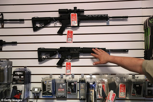 AR-15 rifles at a gun shop. McDaniel wants Missourians who purchase an AR-15 to receive a tax credit to buy one