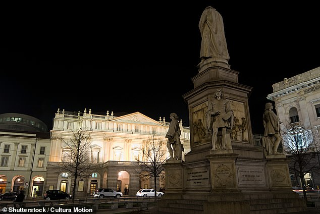 Honour: Pictured above is the world's largest statue of Leonardo outside La Scala opera house
