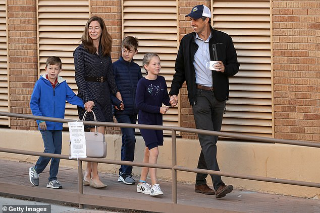 Beto and Amy share three children together Henry, Ulysses and Molly pictured together in 2018