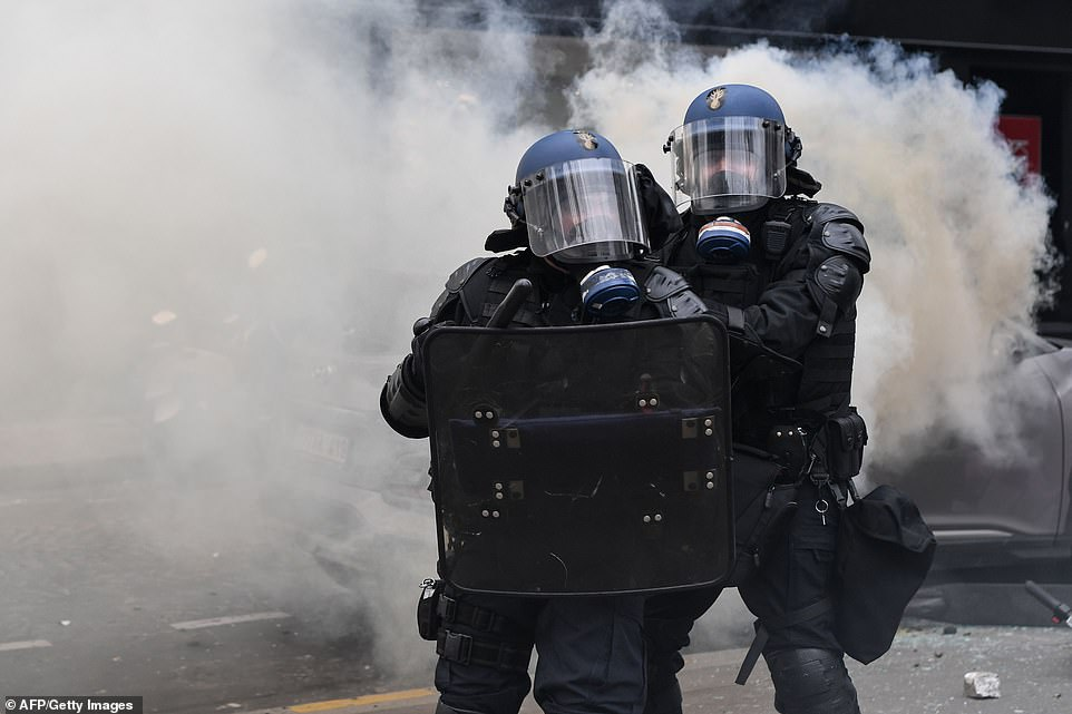 Teargas and baton charged were used by riot police on a so-called 'Act XVIII' Day of Rage organised by the Yellow Vest movement