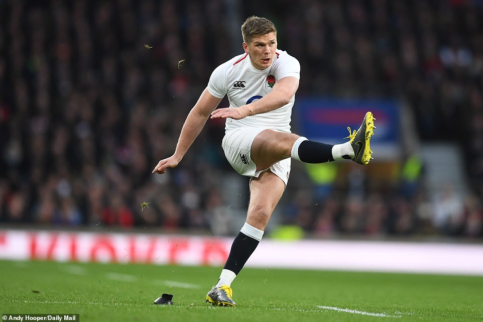 Owen Farrell kicks a conversion during the opening exchanges against Scotland in the Six Nations fixture