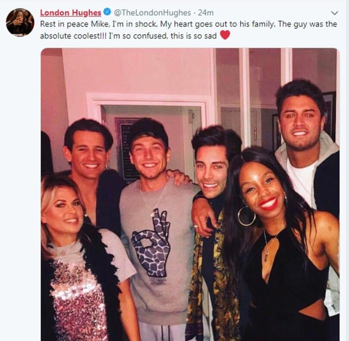 Comedian London Hughes, who starred on Celebs Go Dating alongside Mike, paid tribute to her co-star on Twitter