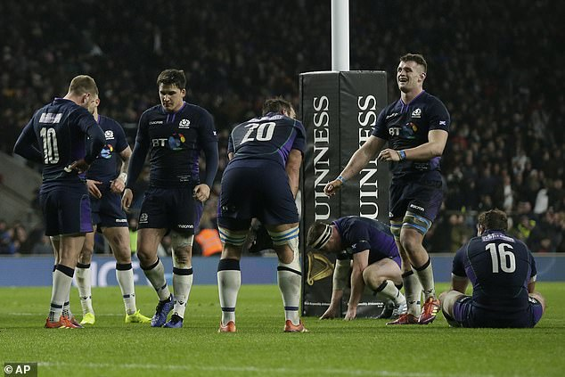 Scotland's players looked dejected after the match but they were superb in the second half