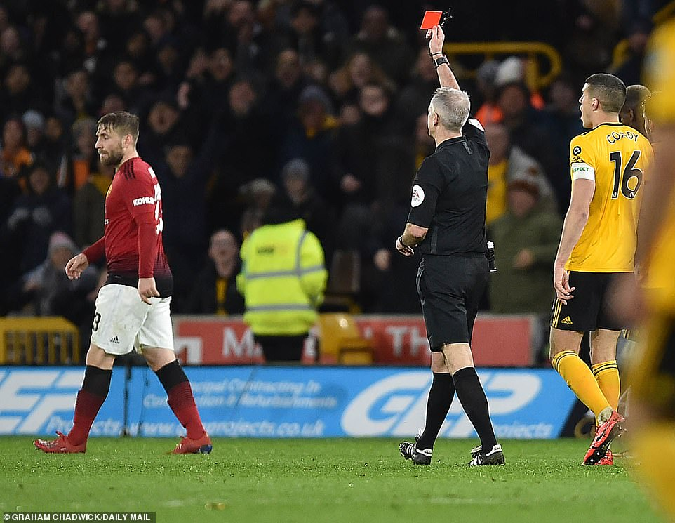 Victor Lindelof (not pictured) was shown a red card for sliding tackle but decision was overturned by video assistant referee