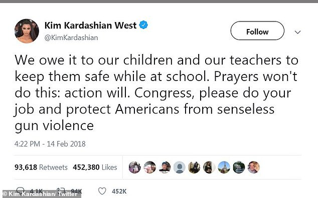 Taking a stand: Kardashian demanded congress to debate gun laws following the mass shooting at Marjory Stoneman Douglas High School in Florida in 2018