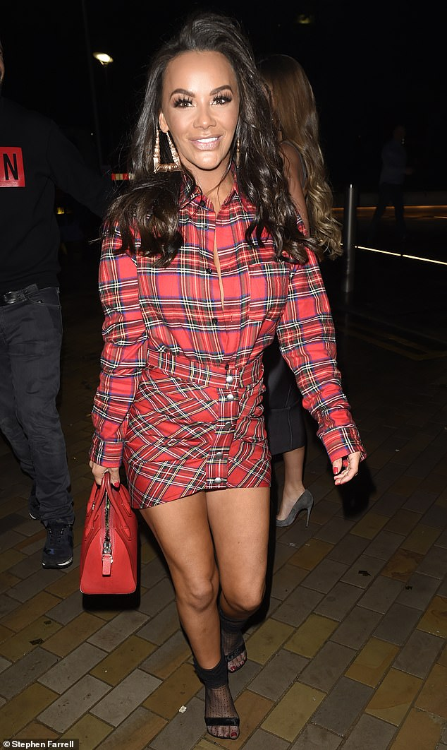 Highland babe:Chelsee slipped into a show-stopping red tartan mini dress for her night on the tiles which showcased her shapely pins thanks to the short hemline