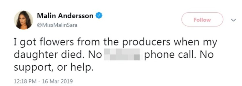 Malin Andersson dijo que no recibió ayuda de los productores de los programas de ITV luego de la muerte de su hija.