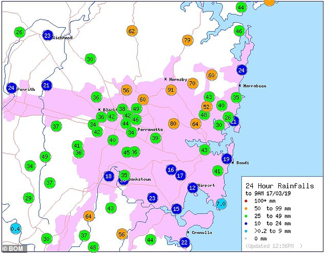 Rainfall across the Sydney area since 9am on Sunday with areas in the north receiving the highest rain levels