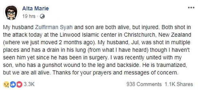 Alta revealed on Facebook that her husband and son were injured in the incident