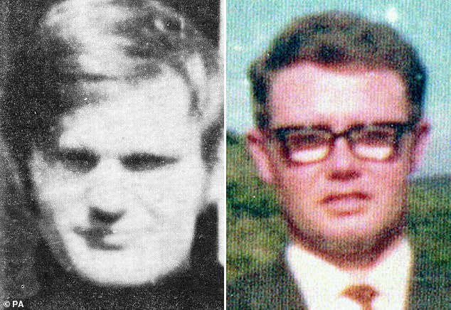 Soldier F will be charged with the murders ofJames Wray (left) and William McKinney (right) on Bloody Sunday. Mr Wray, 22, was shot twice in the back. Mr McKinney was film-maker who recorded scenes from the march before the shooting started