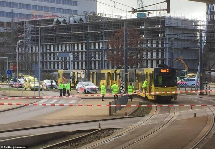 Incident: Emergency services have cordoned off a tram in Utrecht, Holland, where a man reportedly began shooting on Monday morning