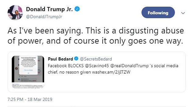 Don Jr. reacted to Scavino's Facebook beef by saying it's a problem only conservatives seem to have