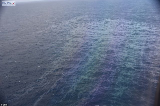 The image above taken by French authorities shows the extent of the oil slick coming from the Grande America on Monday