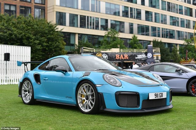 The cargo included four models of the 2018 Porsche 911 GT2 RS (seen here on display in London in June)