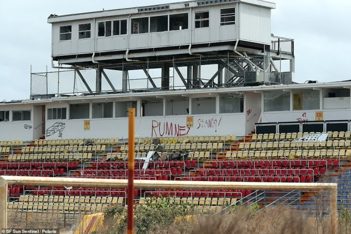 The Lockhart Stadium is located 30 miles north of the city of Miami and is currently worse for wear, with graffiti in the stands