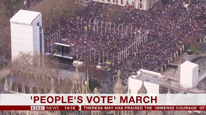 Organisers of the march claim a million people joined in on the 'People's Vote' demonstration through the streets of London