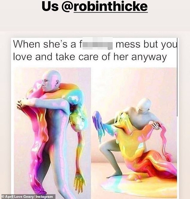 Through Thicke and thin: April posted a humorous meme, referencing the way Robin has helped to care for her