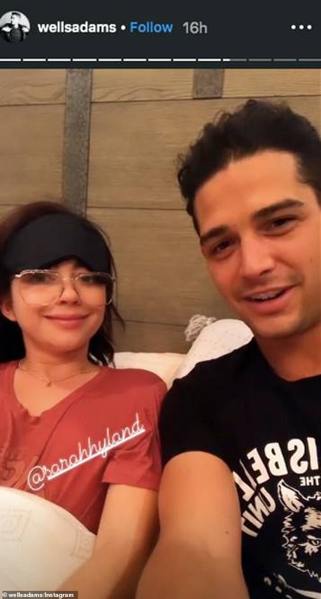Cheer up:Modern Family star Sarah Hyland is still feeling under the weather, recovering from pink eye and a respiratory infection, but her boyfriend Wells Adams is trying to cheer her up