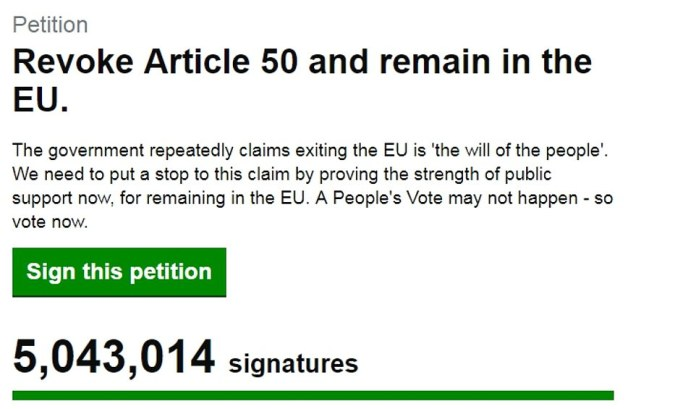 Climbing: By Sunday afternoon more than 5million people had signed the petition calling on the Government to stop Brexit