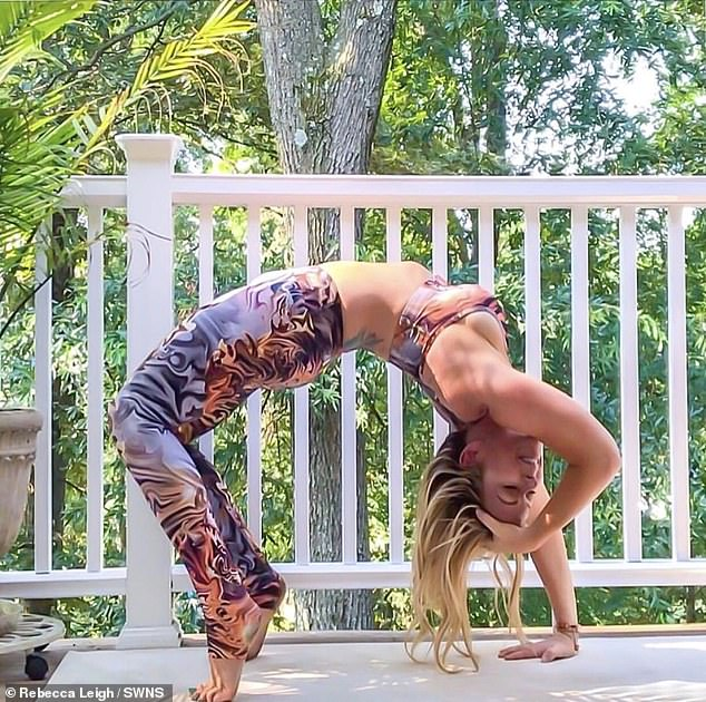 The yoga obsessive was back on her mat a month later, slowly building her strength after being bed bound and cared for by her husband. Pictured before the stroke