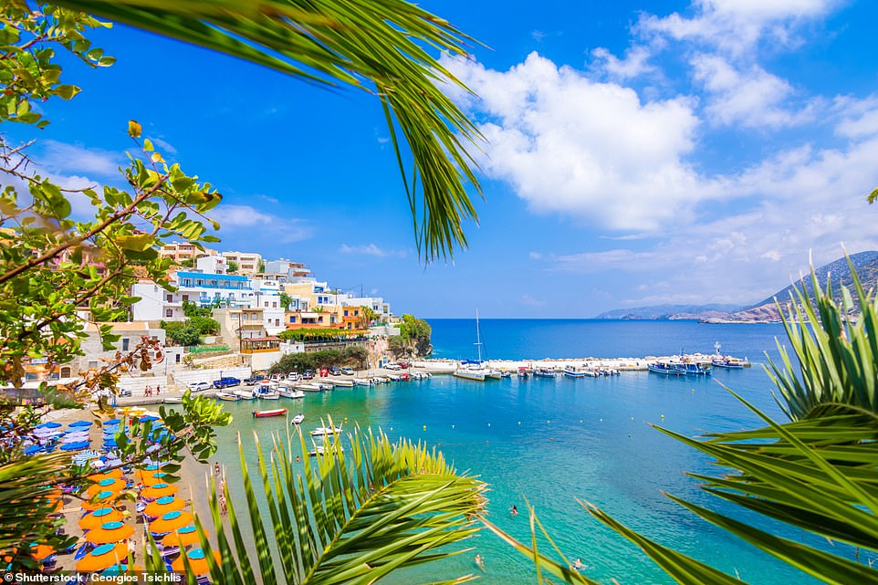 The fourth most popular place on the list is the Greek island of Crete, pictured, thanks to its pretty coastline