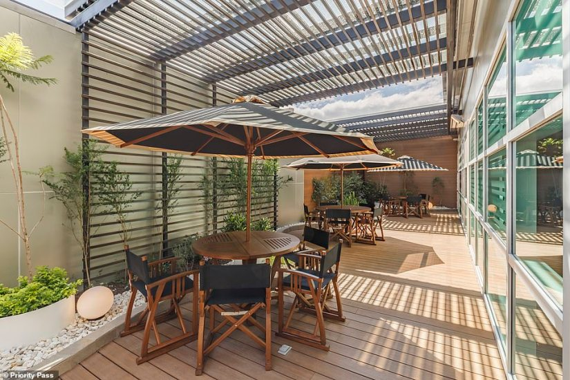 The winning lounge has an outdoor terrace, where passengers can sit and soak up the sun before their flight