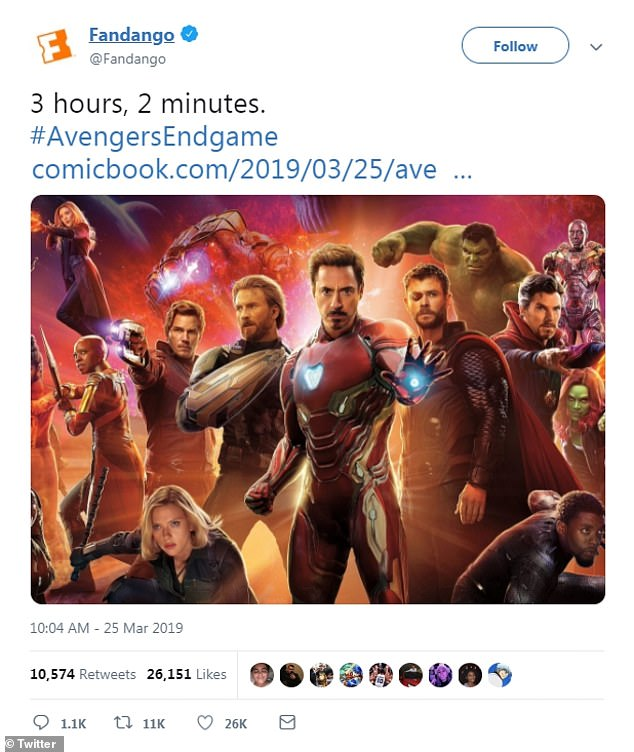 Here we go! Marvel Cinematic Universe enthusiasts will endure more than three hours of action and adventure with the April release of Avengers: Endgame, according to a short-and-sweet tweet from Fandago
