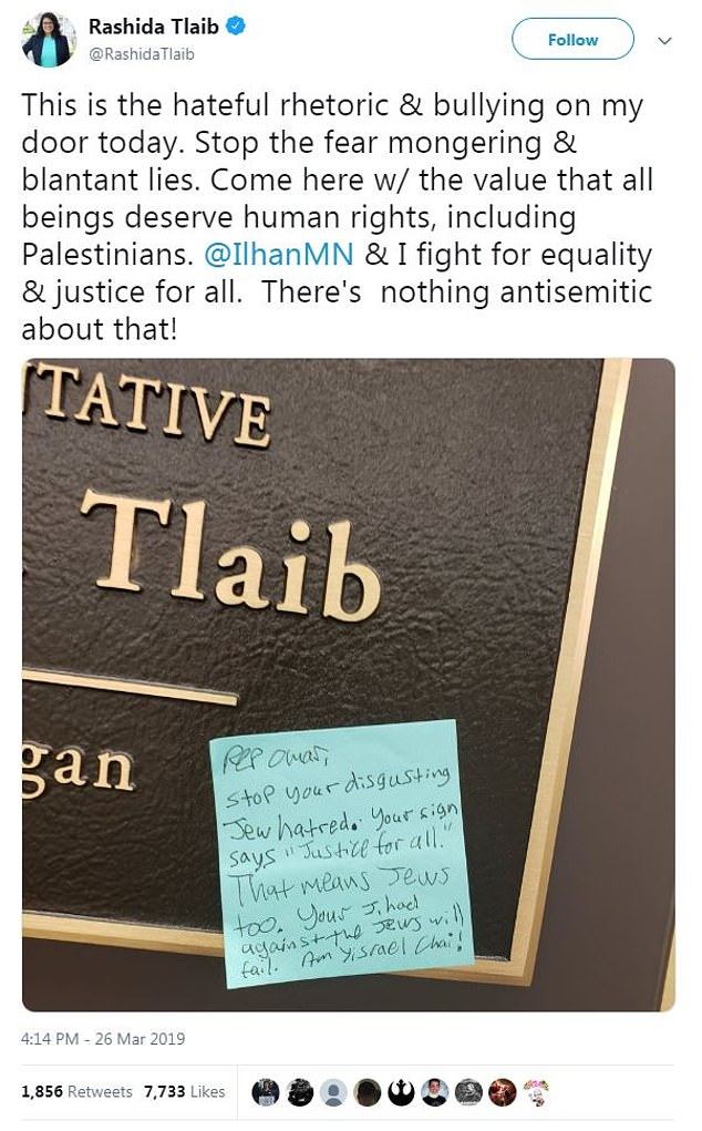 The Democrat shared the scribbled message to her Twitter page, telling her followers the 'fear mongering and blantant (sic) lies' needs to stop