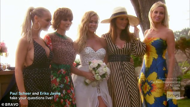 Group shot: The bride posed for photos with her RHOBH castmates