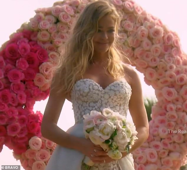 The bride: Denise Richards pulled off a rush wedding to Aaron Phypers on Tuesday's episode of The Real Housewives Of Beverly Hills