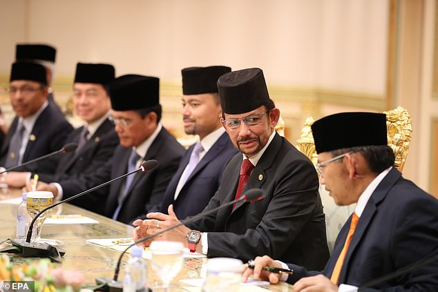 Sultan Hassanal Bolkiah (second right) speaks during his summit talks with South Korean President Moon Jae-in earlier this month