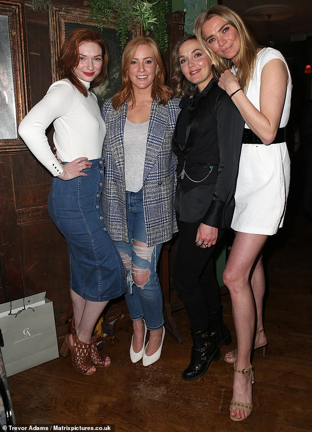 Night out: Eleanor Tomlinson made her presence felt as Jodie Kidd launched a new beauty range at London venue Mr. Fogg's House of Botanicals  on Tuesday evening (L-R: Eleanor, Sarah Jane Mee, Victoria Pendleton and Jodie)