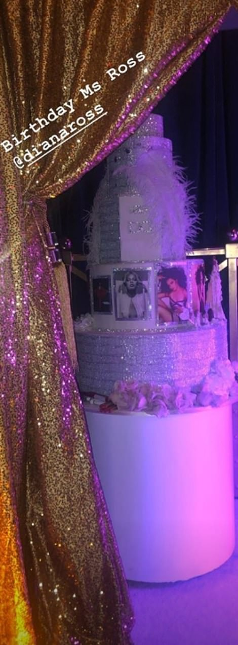 Tuck in: Lavish: Diana's party and big, tiered cake covered in iconic photos of the star