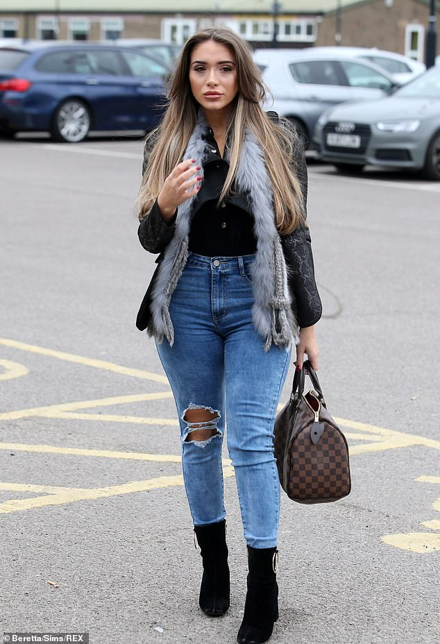 Newbie: Chloe Brockett led many of the TOWIE newcomers who were seen arriving for filming, donning a grey furry gilet with acid-washed ripped jeans
