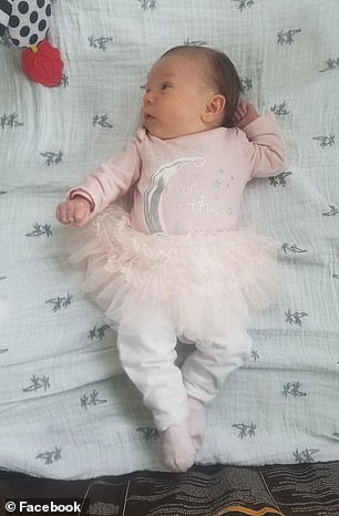 Evianna (pictured) developed late-onset Group B strep disease, which had made her appear healthy at birth and during her first few weeks of life