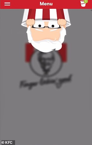 Drag the screen down until you see a cartoon Colonel Sanders appear at the top. Keep dragging the screen to make him bigger until eventually the 'secret menu' pops up