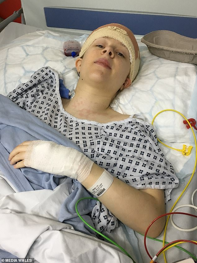 Lily was diagnosed with a brain tumour, which required surgery twice (pictured in hospital), but doctors are not sure what type it is. It could become life-threatening at any point
