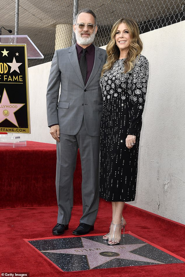 Husband and wife:Her husband Tom Hanks also spoke at the ceremony. 'Rita Wilson has pitch-perfect taste,' he said. His wife then interjected, 'Well, I chose you.' Tom then said, 'That's for later, my love. That's right after the choco pies [from the pizza place next door]'