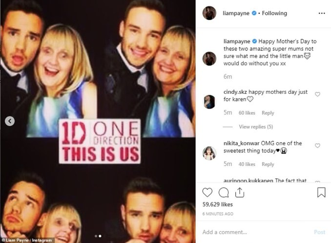 Heartfelt: The One Direction star, 25, posted a picture of Cheryl from when she was pregnant as well as a collage of him with his mum Karen