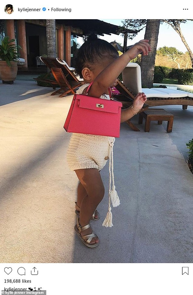 Luxe: Kylie previously said the bag, which was a gift from older sister Kourtney Kardashian, was something she wanted to give Stormi as her first bag