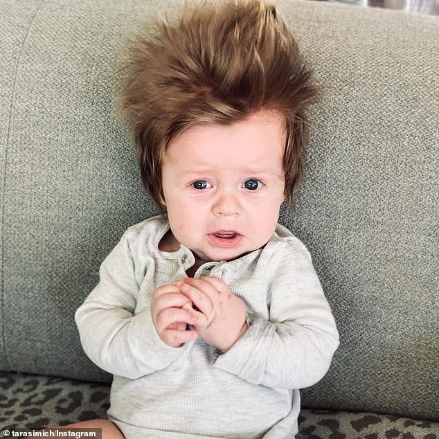 'Oh my god that hair. Why do boys always get the good hair? My daughter is 14 months now and I'm flat out getting her hair in half a pony tail,' one woman commented on Instagram