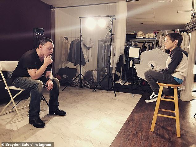 His plans: The SAG Award nominee and their dog Dourtney now live in Michigan where he's coaching actors (like Brayden Eaton, R, pictured August 28) and penning a tell-all Flushing Hollywood, which he plans on touring as a one-man show